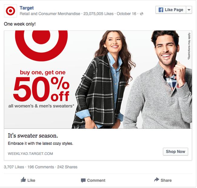 Target facebook ad example critique