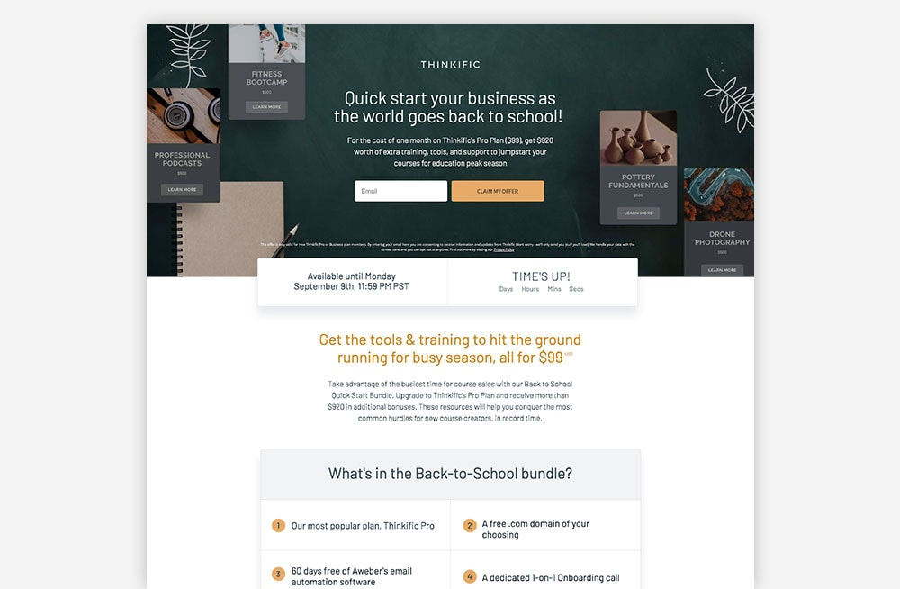 SaaS Landing Page Example - Thinkific