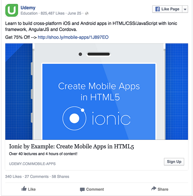 Udemy facebook ad example critique