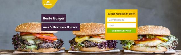 """SEO Traffic: Zentrale Grafik bei der Landing Page für das Keyword """"burger bestellen berlin"""" bei lieferheld.de"""