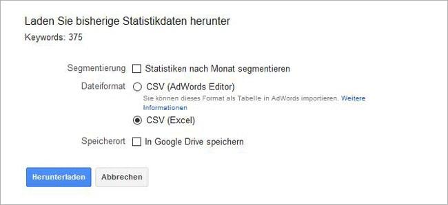 Speichern der Suchbegriffe als Excel-Datei.