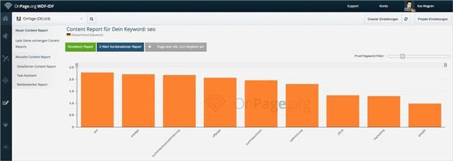 SEO Traffic: WDF*IDF Analyse von OnPage.org