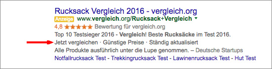 AdWords mit Call To Action
