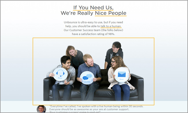 Unbounce Landing Page: Kundenservice