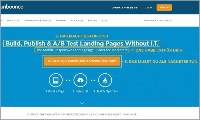 Unbounce Landing Page: Werbetexten