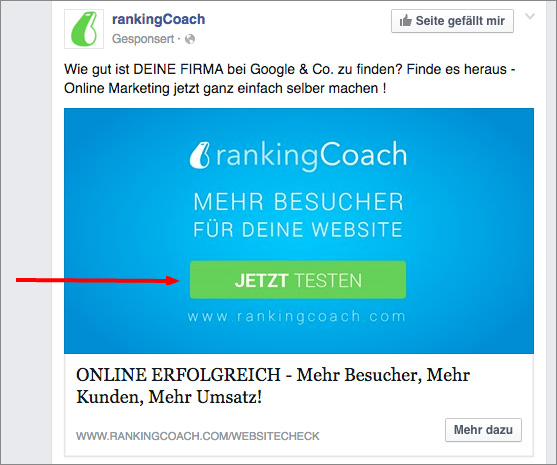 rankingCoach Facebook-Anzeige mit Call To Action