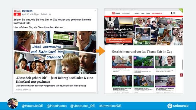 Unbounce Social Media Message Match Deutsche Bahn