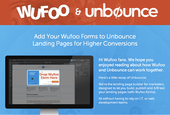unbounce wufoo co-branded contextual design