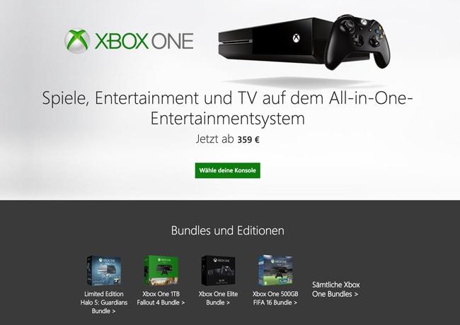 Landing Page mit Alleinstellungsmerkmal der Xbox One