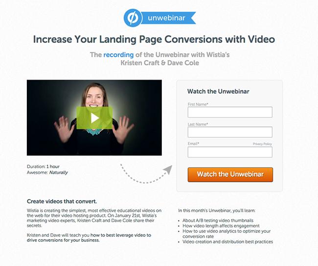 Unwebinar landing page