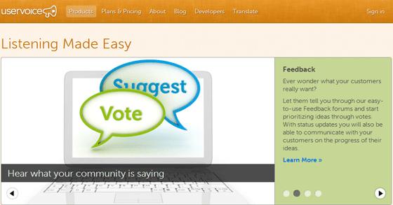 UserVoice User Feedback Tool