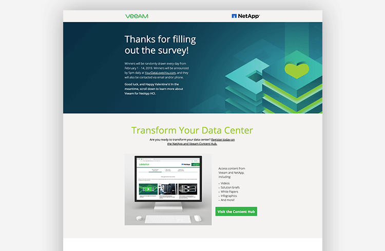 A thank you page by Veeam and Netapp
