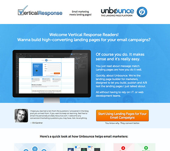 unbounce vertical response co-branded contextual design