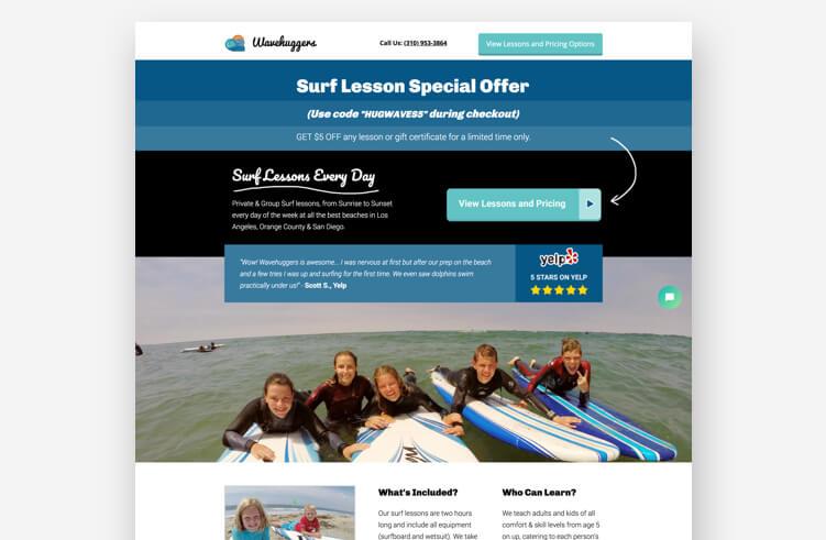 Best Landing Page Examples: Wavehuggers