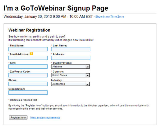 Webinar Marketing - GoToWebinar Default Landing Page