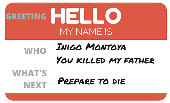 Image of hello my name is tag