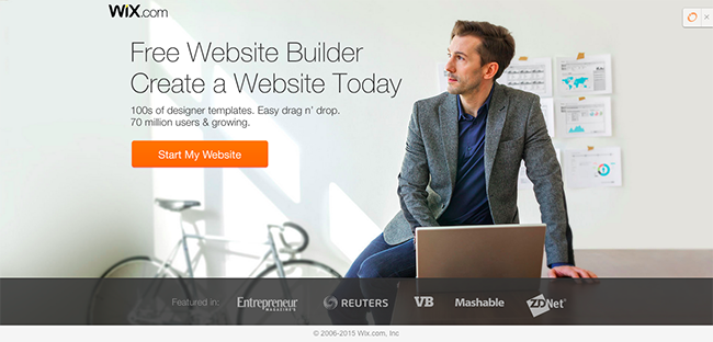 Wix landing page example