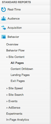 Behavior Tools in Google Analytics