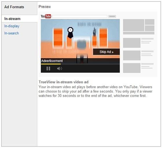 YouTube Advertising TrueView Instream
