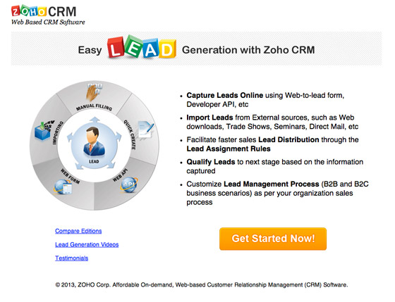 zoho social crm landing page