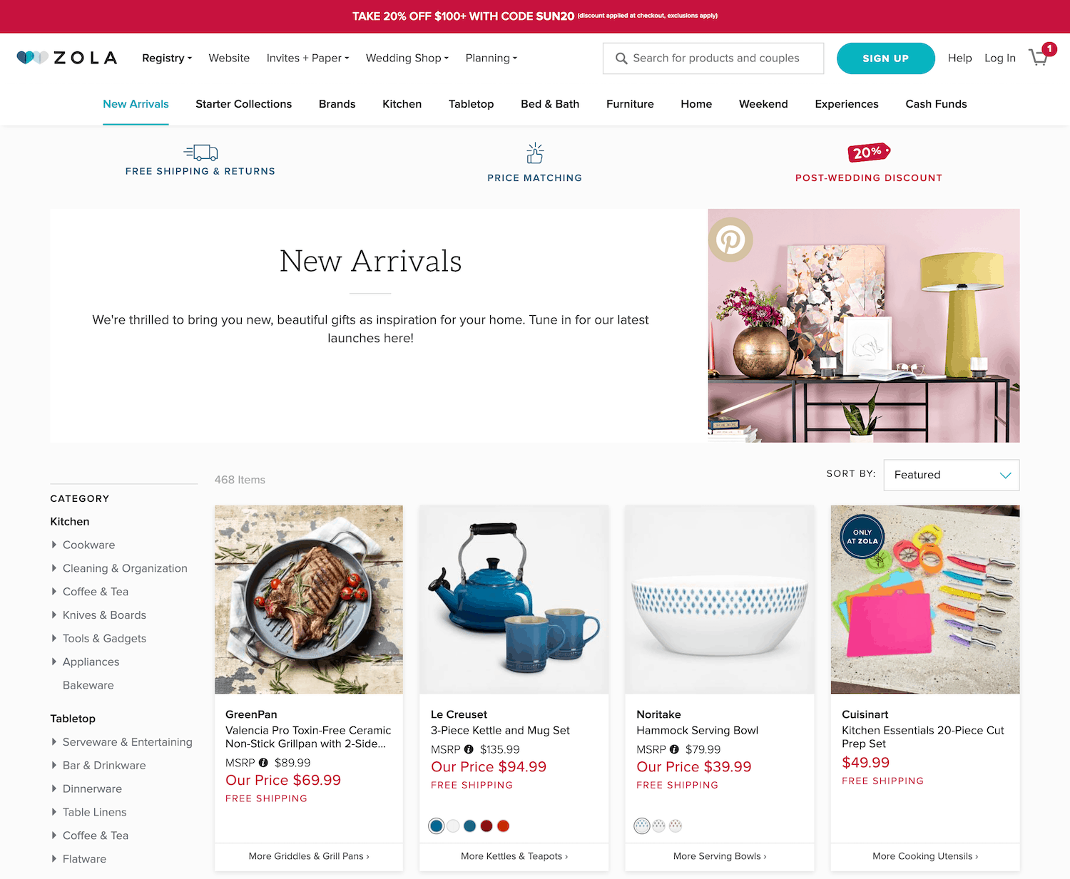 Zola's ecommerce landing page